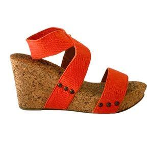 Lucky Brand Wrap Cork Wedge Beach Sandals SZ 6